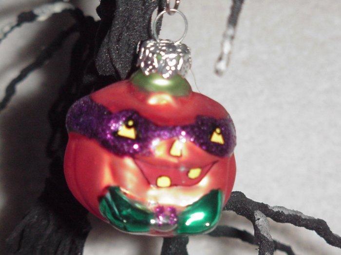 Masked Pumpkin ~ Halloween Blown Glass Ornament