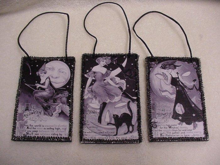 3 Black & White Vintage Mini Halloween Postcard Ornaments ~ John Winsch by Samuel Schmucker