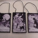 3 Black & White Vintage Mini Halloween Postcard Ornaments ~ John Winsch by Samuel Schmucker