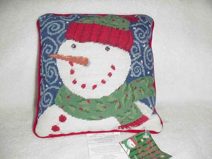 Snowman Needlepoint Pillow ~ NEW
