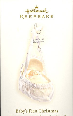 Hallmark Ornament ~ Baby's First Christmas 2007 ~ Baby in Bassinet