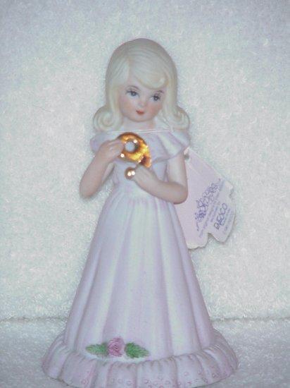 Growing Up Birthday Girls Figurine by Enesco ~ Blonde hair age 9
