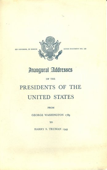 Inaugural Addresses of the Presidents of the Untied States Book ~ 1952