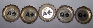 PBR (Pabst, old style blue) bottle caps (5 card hand)