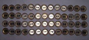 PBR (Pabst, red, white and blue) bottle caps (Full set,52)