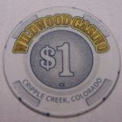 Wildwood Casino $1 Chip Cripple Creek, CO.