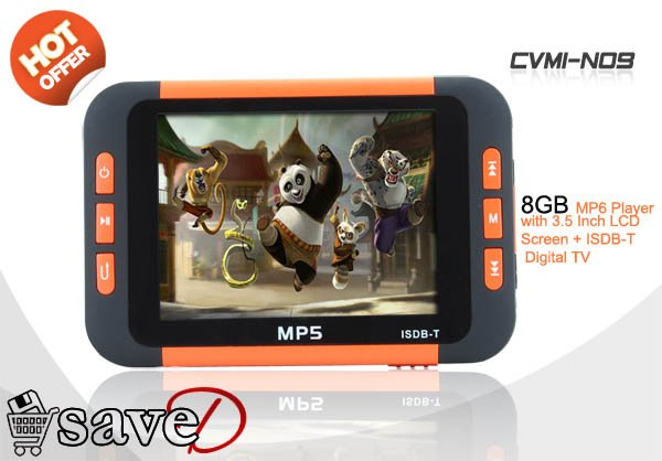 (MP3, MP4, MP5 in one unit) MP6 Player with 3.5 Inch LCD Screen + ISDB-T Digital TV (8GB)