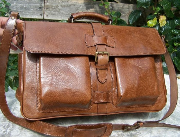 Handcrafted artisan genuine leather briefcase laptop bag UNISEX 043