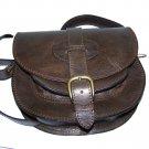 Dark Brown Leather Bag Messenger Shoulder Crossbody Bag Goldmann size S