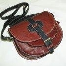 Two-toned red-wine & black Leather Bag Messenger Shoulder Crossbody Bag Goldmann size S