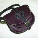 Two-toned deep purple & black Leather Bag Messenger Shoulder Crossbody Bag Goldmann size S