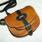 Two-toned Caramel & black Leather Bag Messenger Shoulder Crossbody Bag Goldmann size S