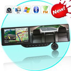 Bluetooth Rearview Mirror with Built-in GPS Navigation and 720P HD DVR (5 Inch HD Touchscreen)