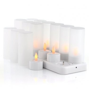 "LED Candles with Charging Dock ""Cozy LEDs"" - 12x LED Candles, 12x Candle Holders, Flickering Effect"
