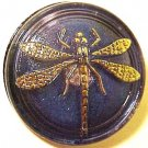 Dragonfly Gold on Silver Opaque Glass Button Purple