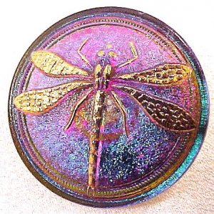 Dragonfly Silver Opaque Glass Button Red Purple Green