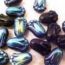 Flower Tulip 25 Black Carnival AB Glass Beads
