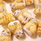 Cat 6 Ceramic Brown Tabby Beads