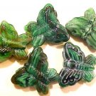Butterfly Large Green Slag Glass Bead