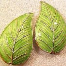 Leaves Cloisonne 4 Green Beads