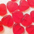 Heart 25 Red Patterned Glass Beads