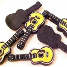Guitar 3 Yellow Hand Painted Pottery Beads