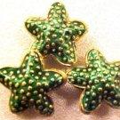 Starfish 5 Green Cloisonne Beads