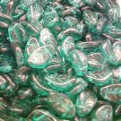 Leaves Twist 25 Blue Green Glass Beads