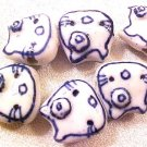 Cat Head 6 Blue and White Porcelain Beads