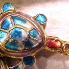 Turtle 4 Blue and Red Cloisonne Metal Beads