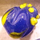Flower Rosebud Blue with Yellow Lampworked Glass Beads