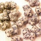 Dog Puppy White Poodle 6 Porcelain Beads