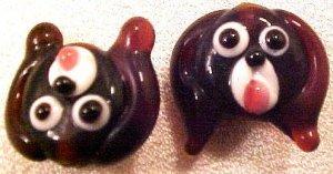 Dog Puppy 3 Dark Brown Lampworked Glass Beads