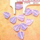 Leaves 25 Blue Satin Glass Beads