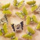 Butterfly Metal 2 Green Enamel Double Hole Beads