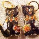 Cat 3 Cloisonne Black Metal Pendant Beads