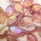 Leaves Loop 25 Purple Iridescent Glass Beads