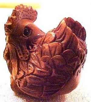 Chicken Hen Carved Ojime Bead