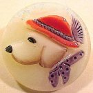 Dog Red Hat Glass Button