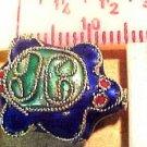 Turtle 3 Blue Cloisonne Metal Bead