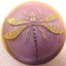 Dragonfly Gold on Lavender Opaque Glass Button