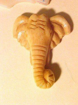 Elephant Carved Bone Head Bead