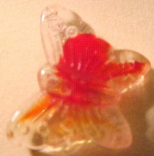Butterfly 10 Red Variegated Pressed Glass Beads