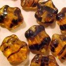 Turtle 10 Brown Tortoise Variegated Glass Beads