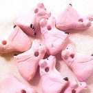 Pig Sitting 3 Pink Clay Beads