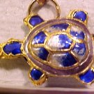 Turtle 4 Blue and White Cloisonne Metal Beads