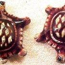 Turtle 6 Purple Enameled Metal Bead