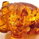 Hippo Carved Amber Figurine