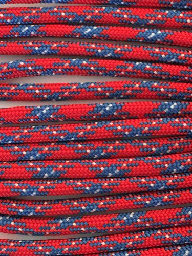 PARACORD 550 LB PARACHUTE CORD MIL SPEC TYPE III **WITH FREE BUCKLES* ( PATRIOTIC 100FT)