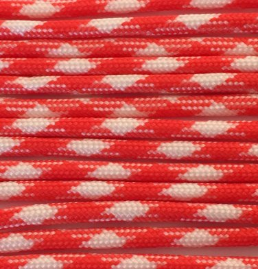 PARACORD 550 LB PARACHUTE CORD MIL SPEC TYPE III **WITH FREE BUCKLES** (ORANGE/WHITE 1FT)